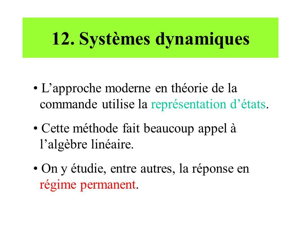 12. Systèmes dynamiques L'approche moderne en théorie de la commande utilise la représentation d'états.