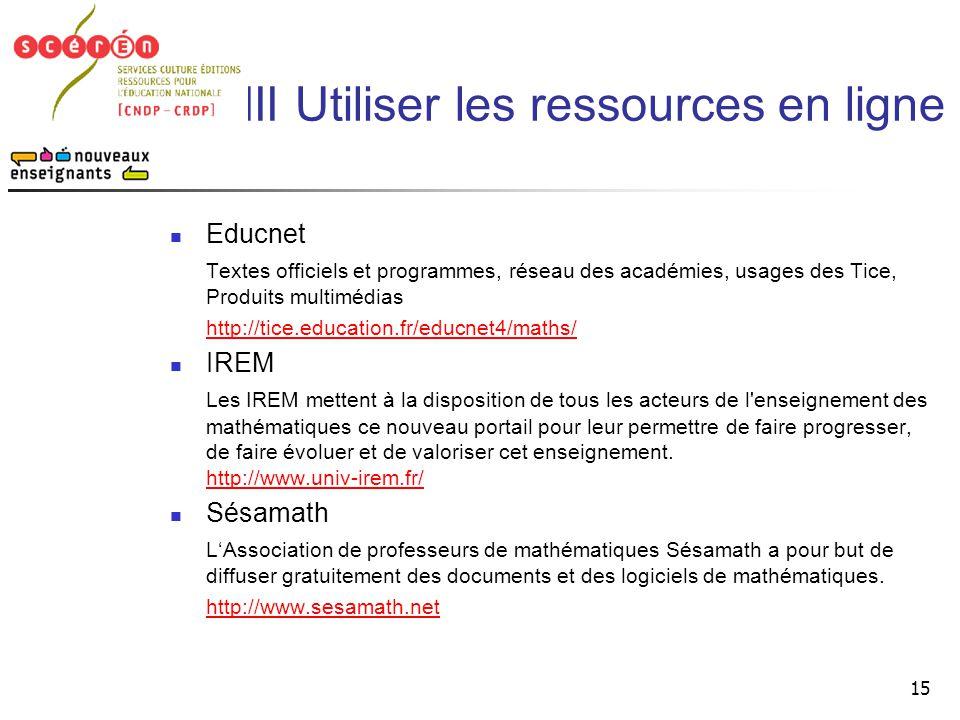 III Utiliser les ressources en ligne