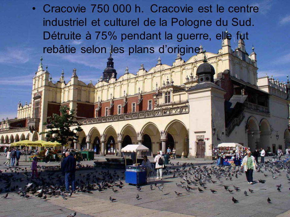 Cracovie 750 000 h. Cracovie est le centre industriel et culturel de la Pologne du Sud.