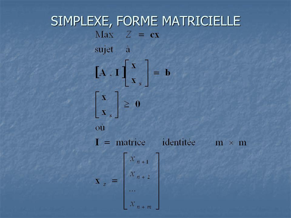 SIMPLEXE, FORME MATRICIELLE
