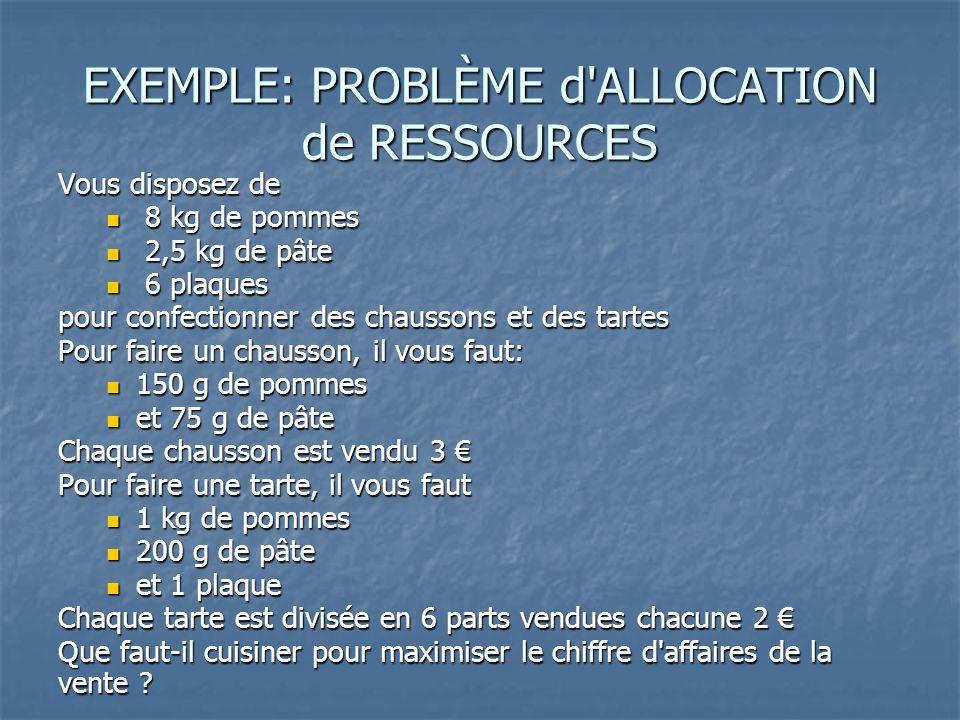 EXEMPLE: PROBLÈME d ALLOCATION de RESSOURCES