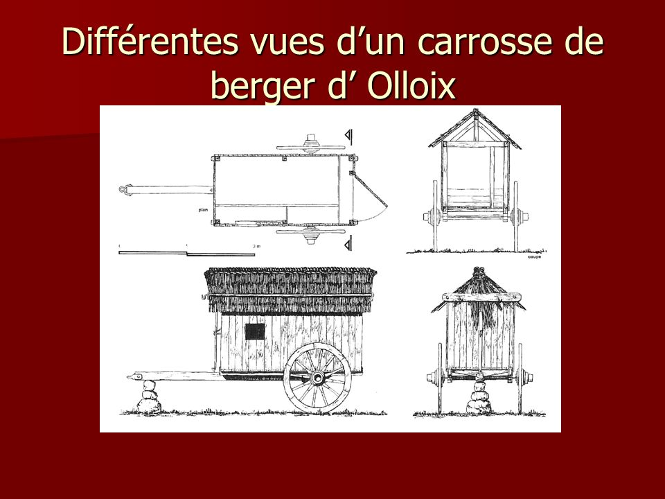 Différentes vues d'un carrosse de berger d' Olloix