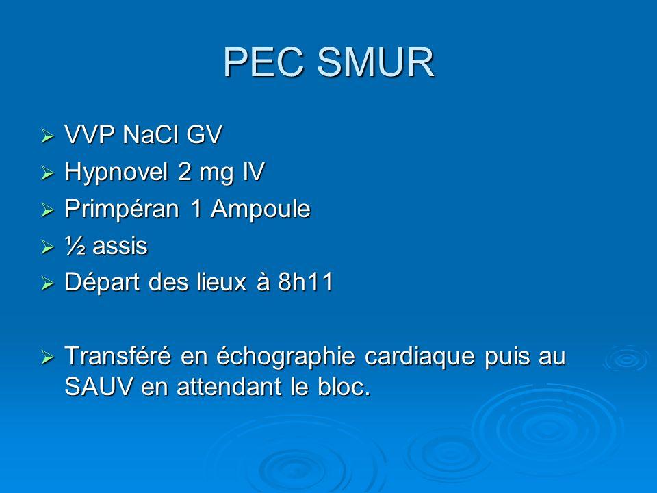 PEC SMUR VVP NaCl GV Hypnovel 2 mg IV Primpéran 1 Ampoule ½ assis