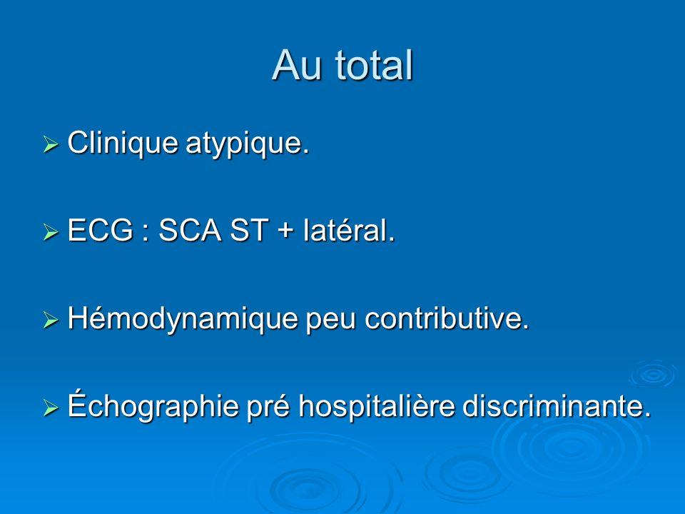 Au total Clinique atypique. ECG : SCA ST + latéral.