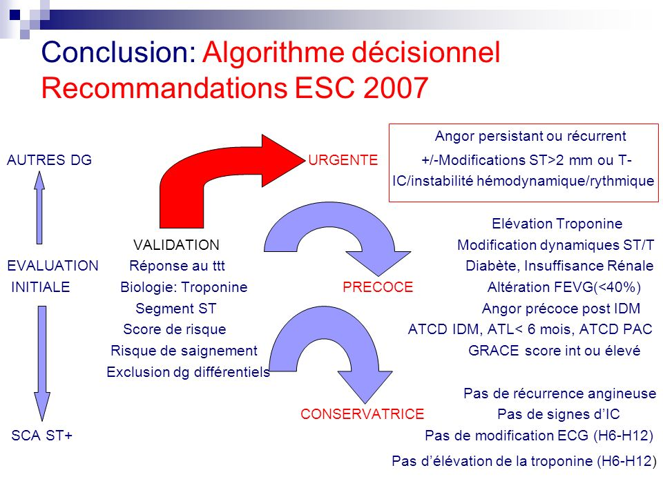 Conclusion: Algorithme décisionnel Recommandations ESC 2007