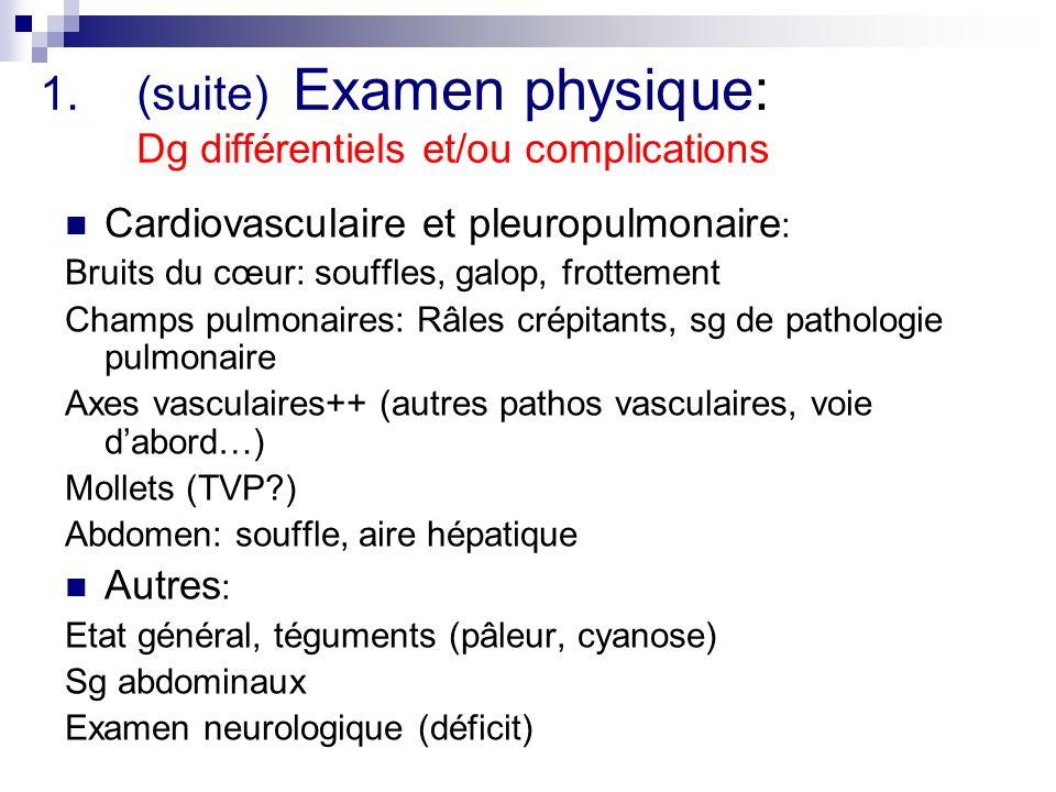 (suite) Examen physique: Dg différentiels et/ou complications
