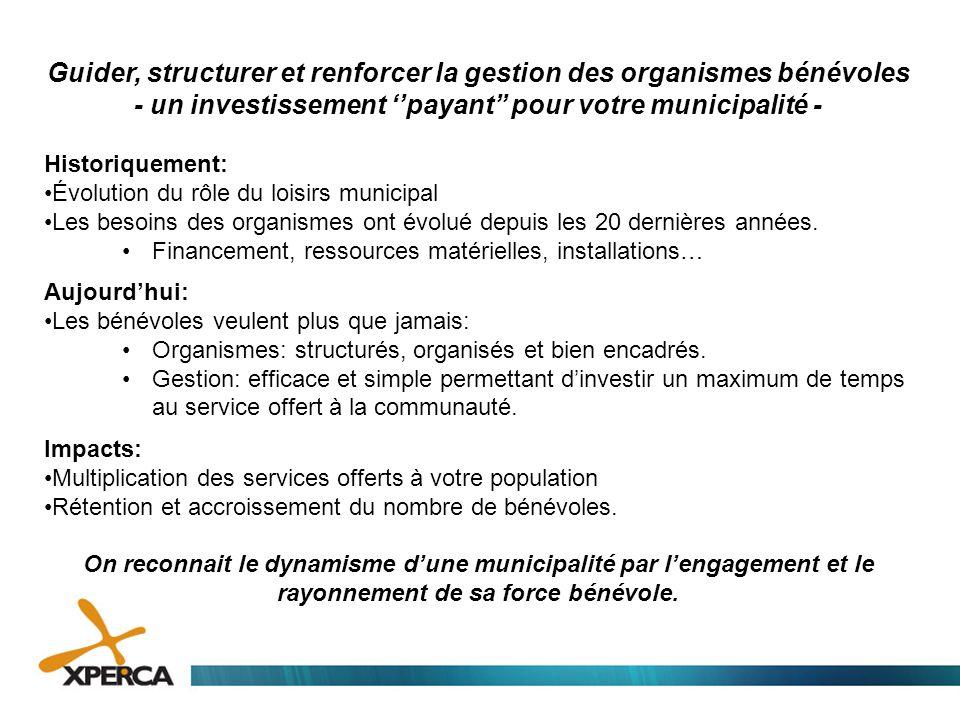 Guider, structurer et renforcer la gestion des organismes bénévoles