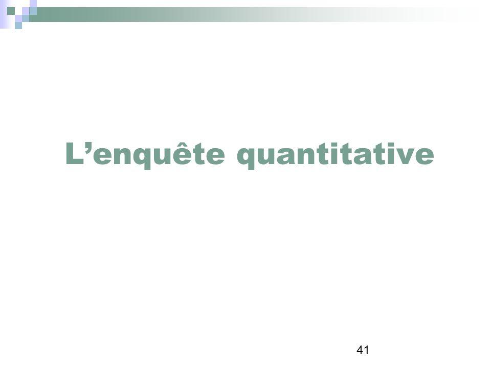 L'enquête quantitative