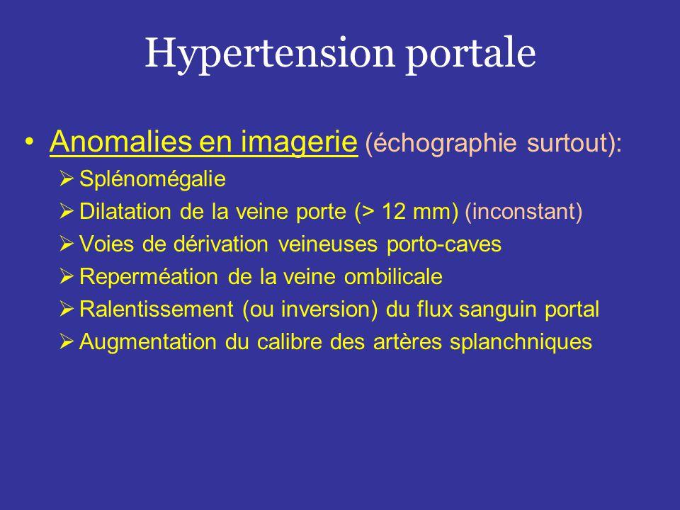Hypertension portale Anomalies en imagerie (échographie surtout):