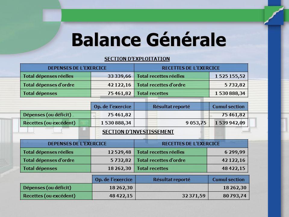Balance Générale SECTION D'EXPLOITATION SECTION D'INVESTISSEMENT