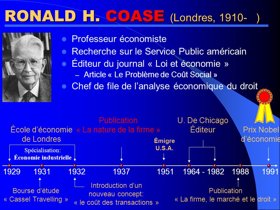 RONALD H. COASE (Londres, 1910- )