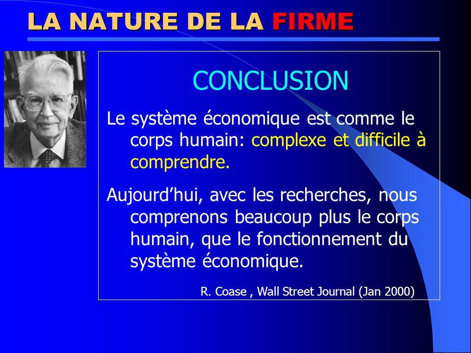LA NATURE DE LA FIRME CONCLUSION. Le système économique est comme le corps humain: complexe et difficile à comprendre.