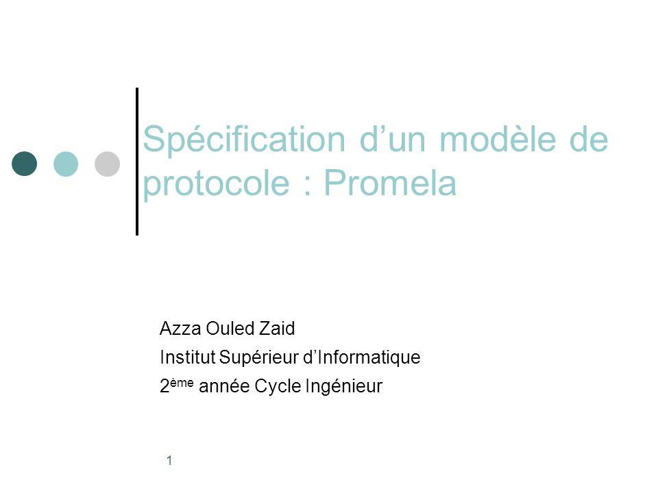 Spécification d'un modèle de protocole : Promela