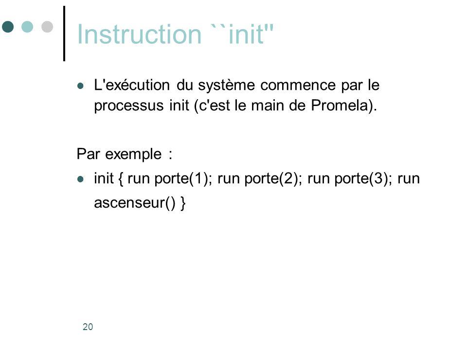 Instruction ``init L exécution du système commence par le processus init (c est le main de Promela).