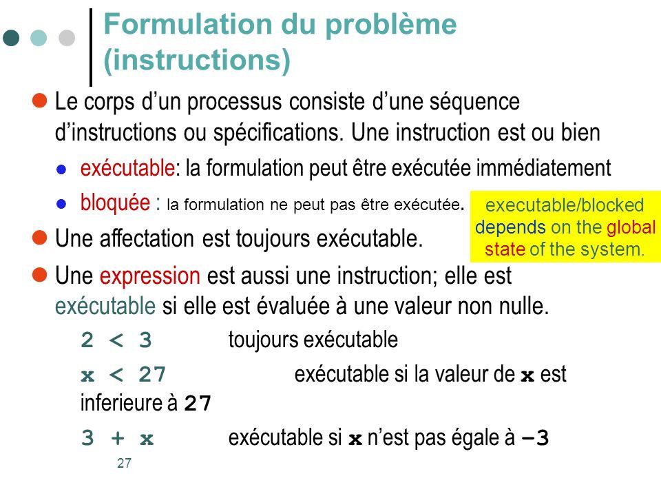 Formulation du problème (instructions)