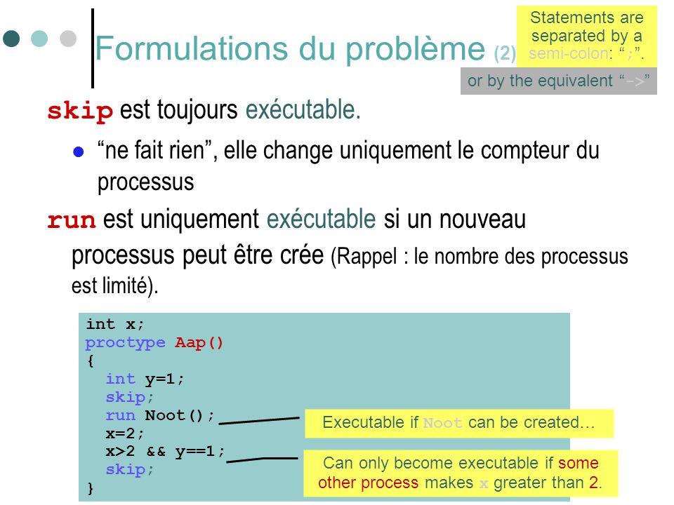 Formulations du problème (2)