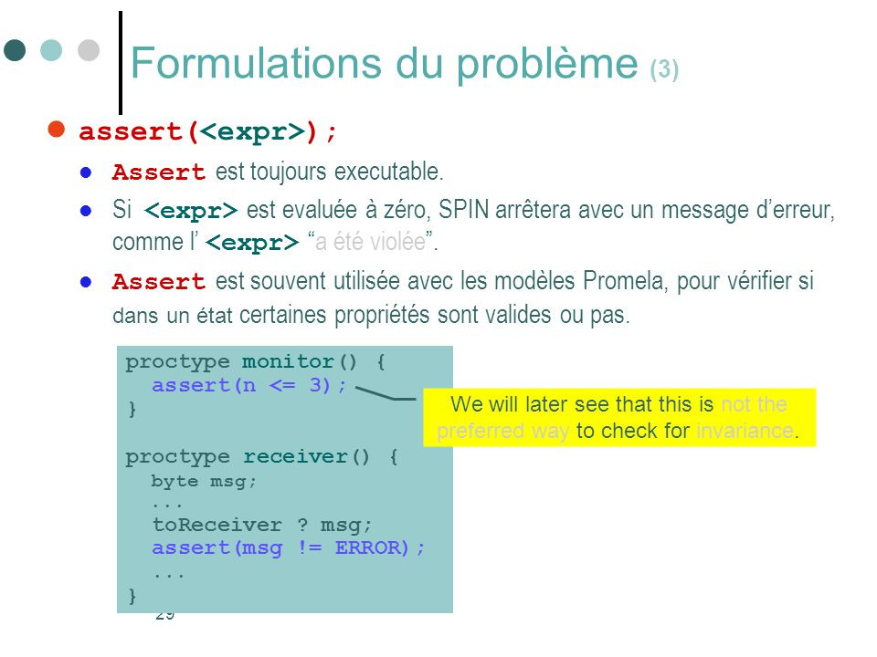 Formulations du problème (3)