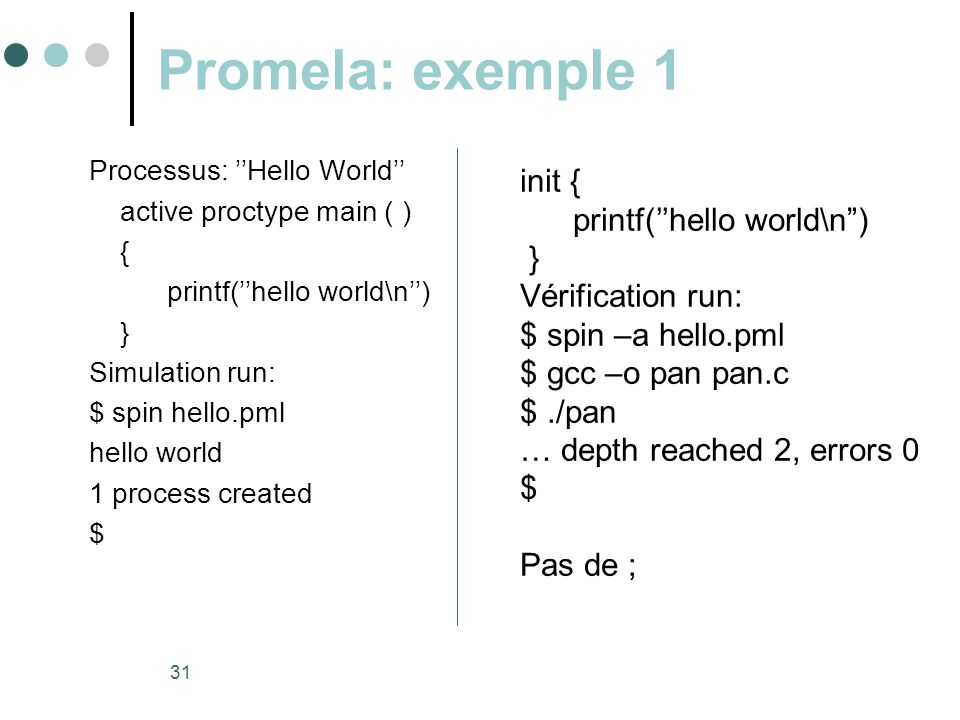 Promela: exemple 1 init { printf(''hello world\n ) } Vérification run: