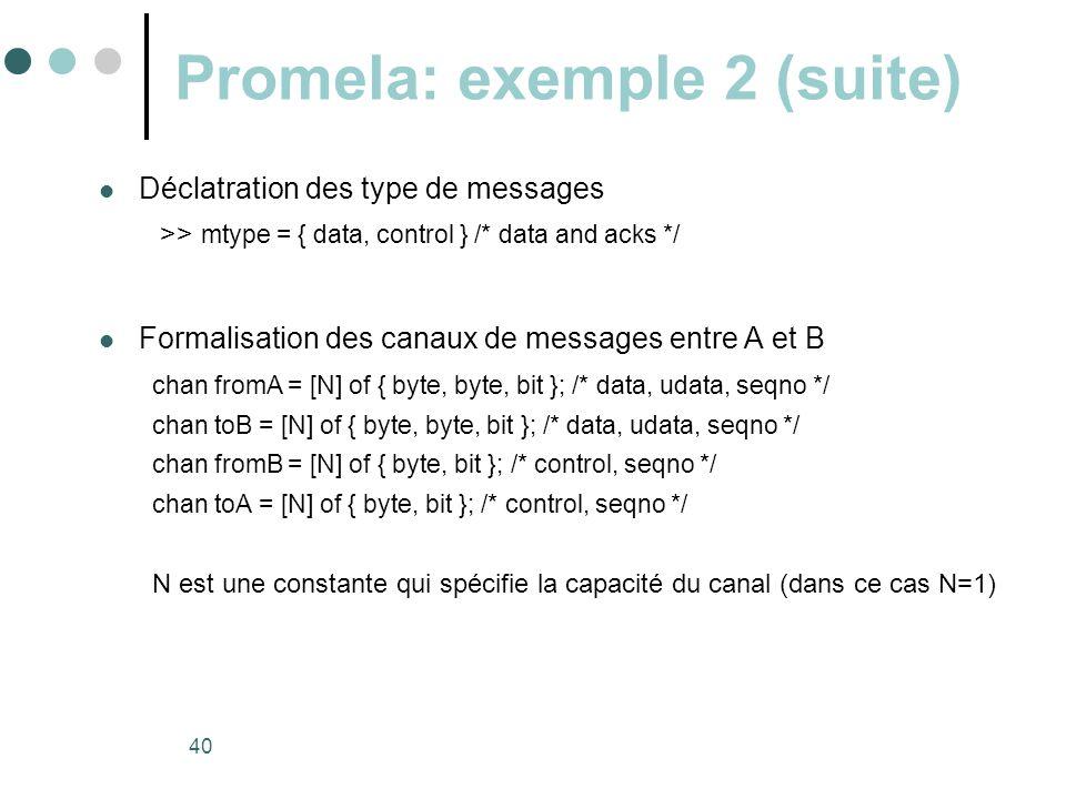 Promela: exemple 2 (suite)