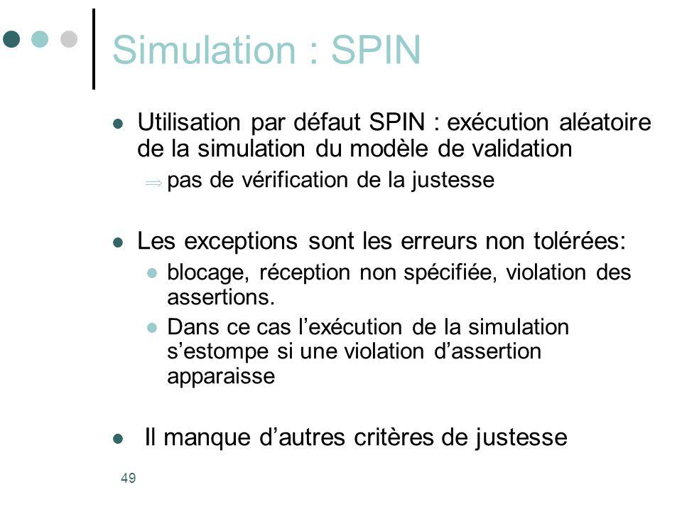 Simulation : SPIN Utilisation par défaut SPIN : exécution aléatoire de la simulation du modèle de validation.