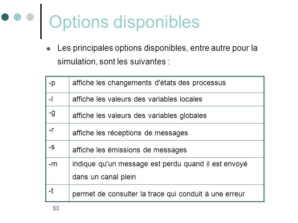 Options disponibles Les principales options disponibles, entre autre pour la simulation, sont les suivantes :