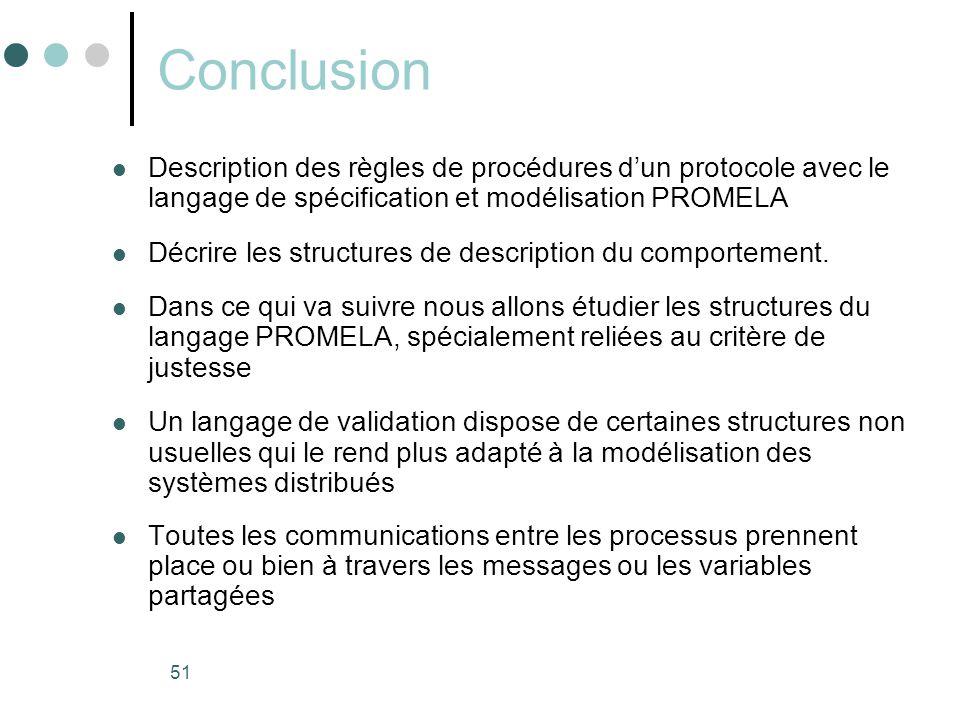 Conclusion Description des règles de procédures d'un protocole avec le langage de spécification et modélisation PROMELA.