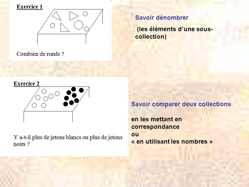 Savoir dénombrer (les éléments d'une sous- collection) Savoir comparer deux collections. en les mettant en correspondance.