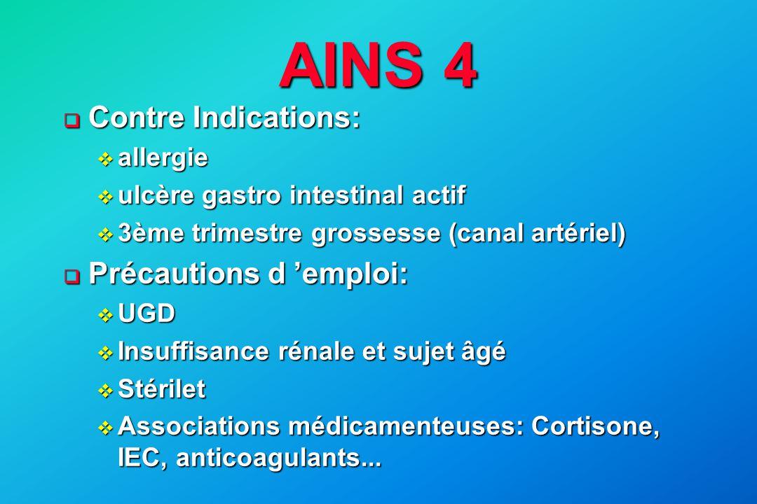 AINS 4 Contre Indications: Précautions d 'emploi: allergie