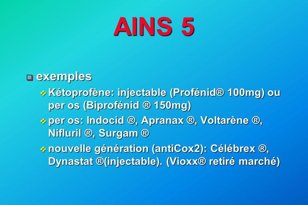 AINS 5 exemples. Kétoprofène: injectable (Profénid® 100mg) ou per os (Biprofénid ® 150mg)