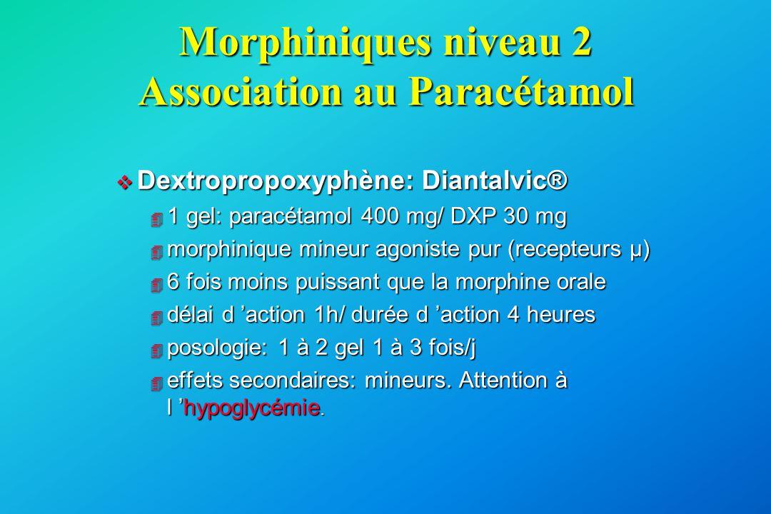 Morphiniques niveau 2 Association au Paracétamol
