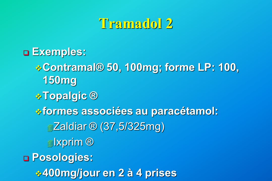 Tramadol 2 Exemples: Contramal® 50, 100mg; forme LP: 100, 150mg