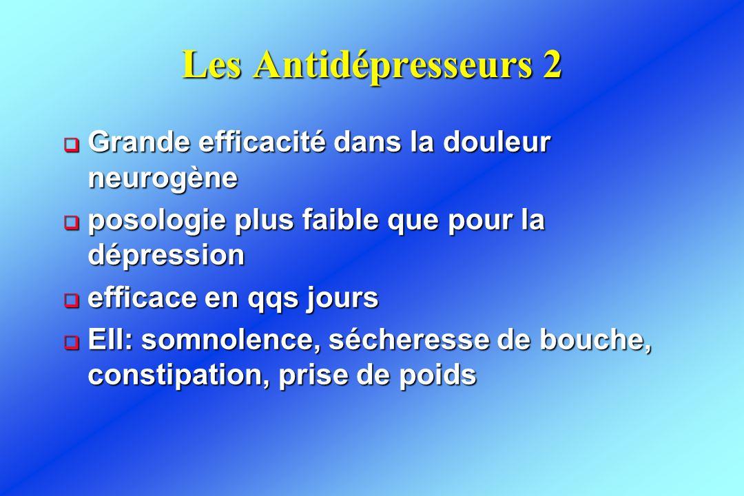 Les Antidépresseurs 2 Grande efficacité dans la douleur neurogène