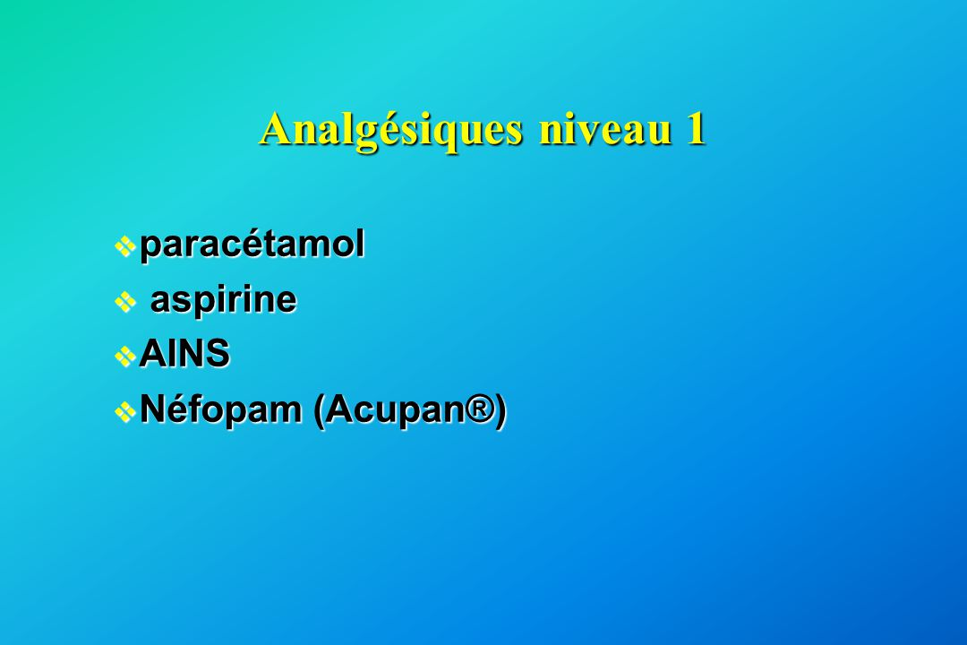 Analgésiques niveau 1 paracétamol aspirine AINS Néfopam (Acupan®)