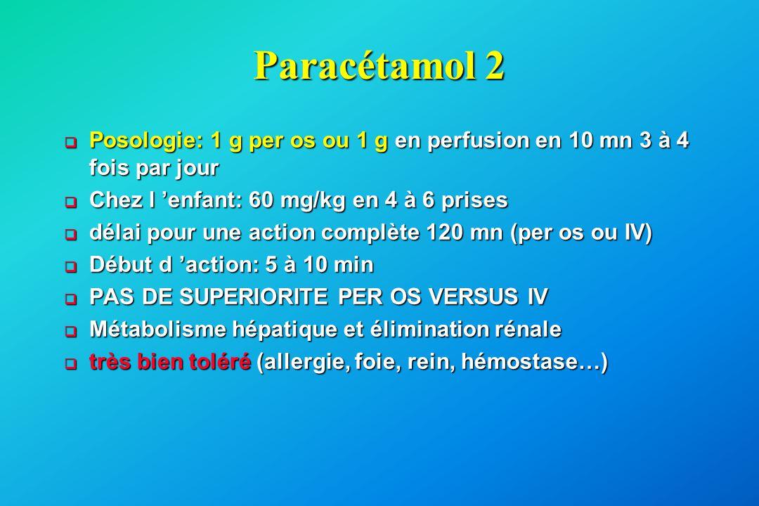 Paracétamol 2 Posologie: 1 g per os ou 1 g en perfusion en 10 mn 3 à 4 fois par jour. Chez l 'enfant: 60 mg/kg en 4 à 6 prises.