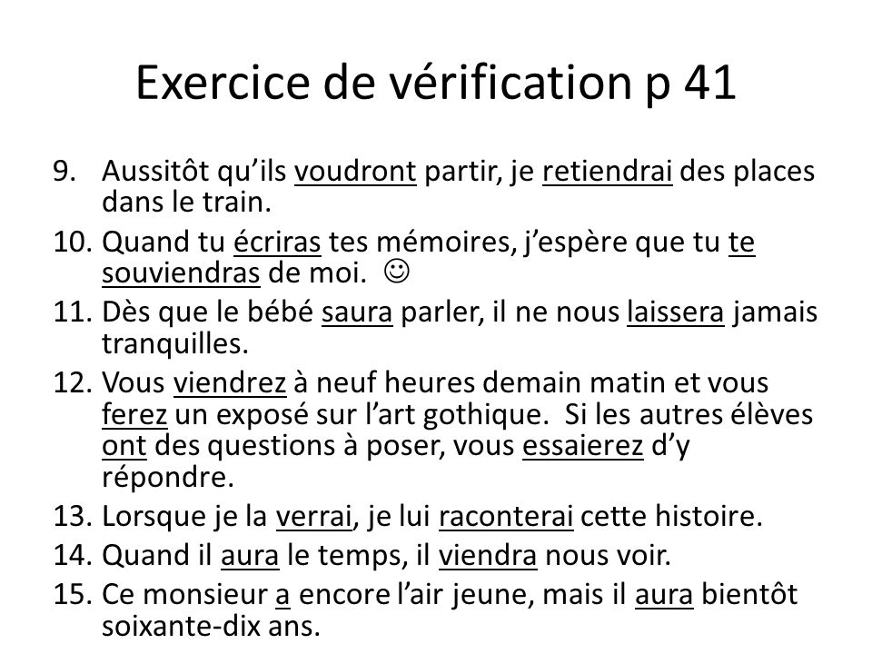 Exercice de vérification p 41