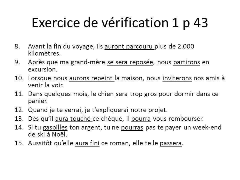 Exercice de vérification 1 p 43