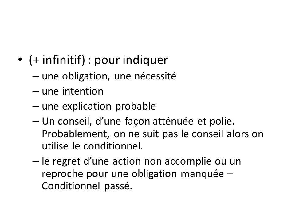 (+ infinitif) : pour indiquer