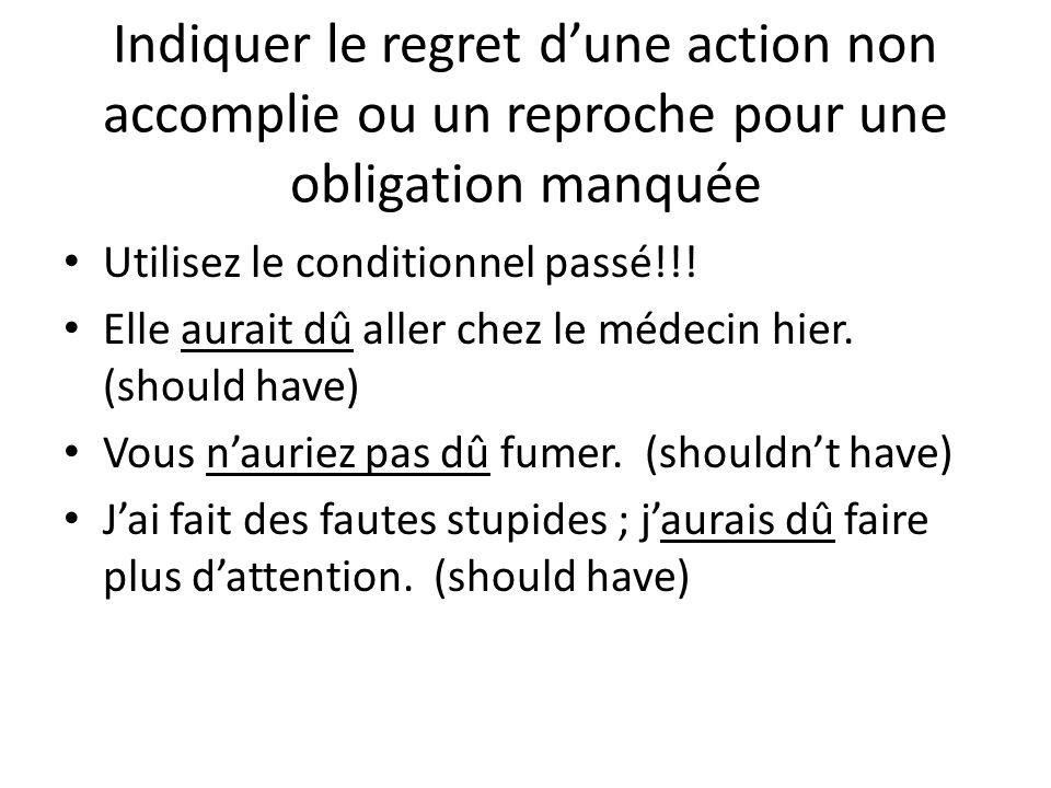 Indiquer le regret d'une action non accomplie ou un reproche pour une obligation manquée