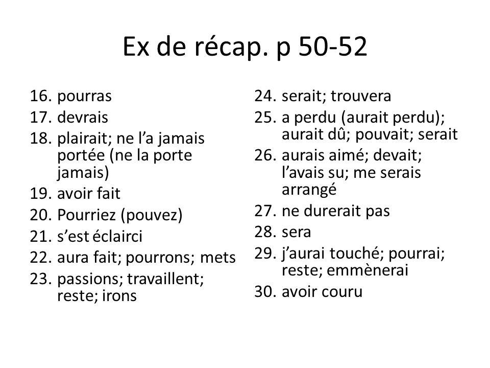 Ex de récap. p 50-52 pourras devrais