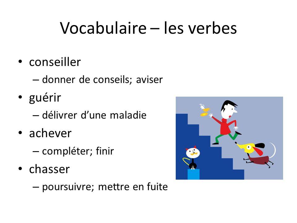 Vocabulaire – les verbes