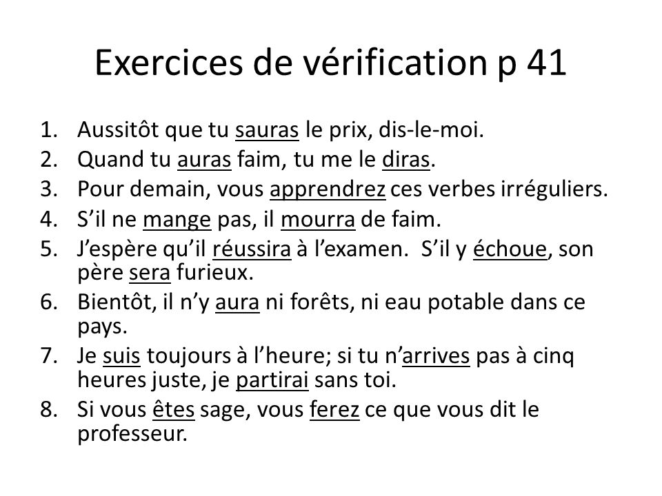 Exercices de vérification p 41