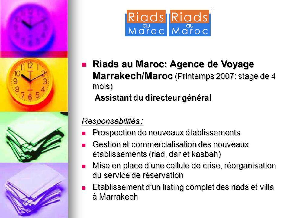Riads au Maroc: Agence de Voyage Marrakech/Maroc (Printemps 2007: stage de 4 mois)