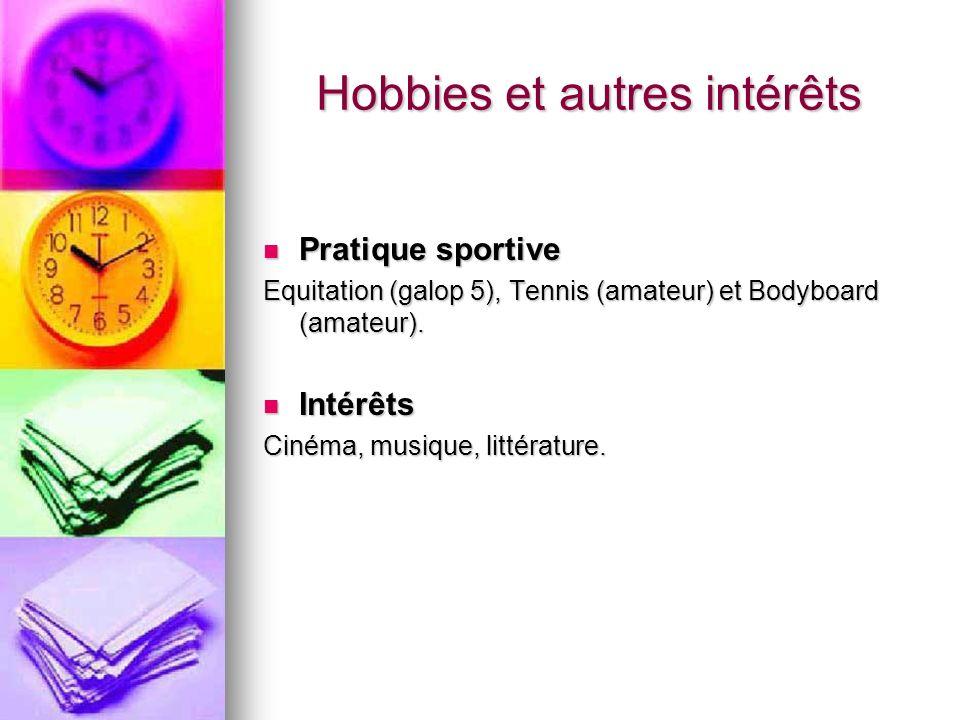 Hobbies et autres intérêts
