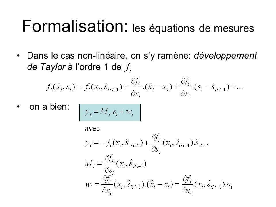 Formalisation: les équations de mesures