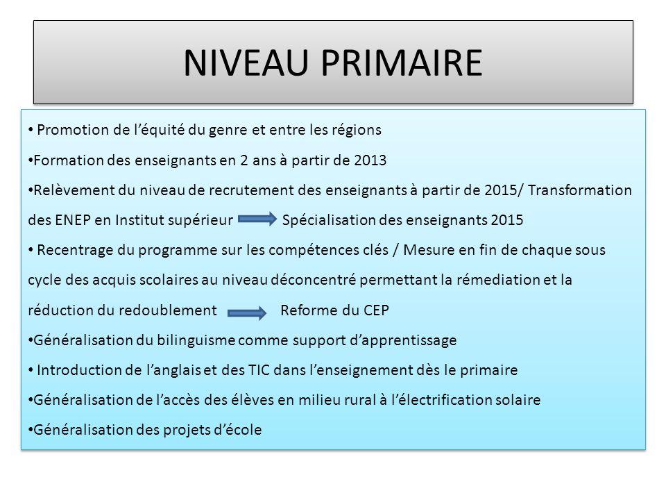 NIVEAU PRIMAIRE Promotion de l'équité du genre et entre les régions