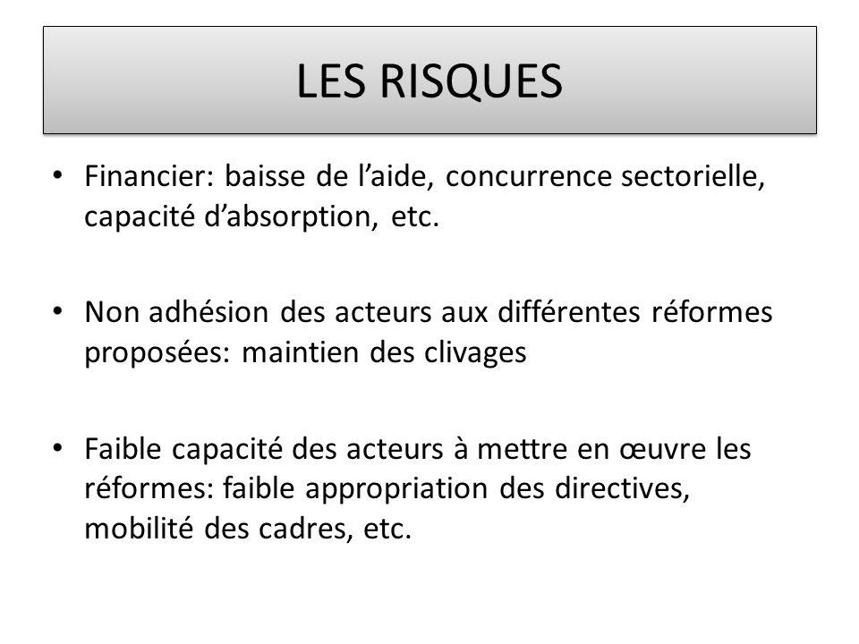 LES RISQUES Financier: baisse de l'aide, concurrence sectorielle, capacité d'absorption, etc.