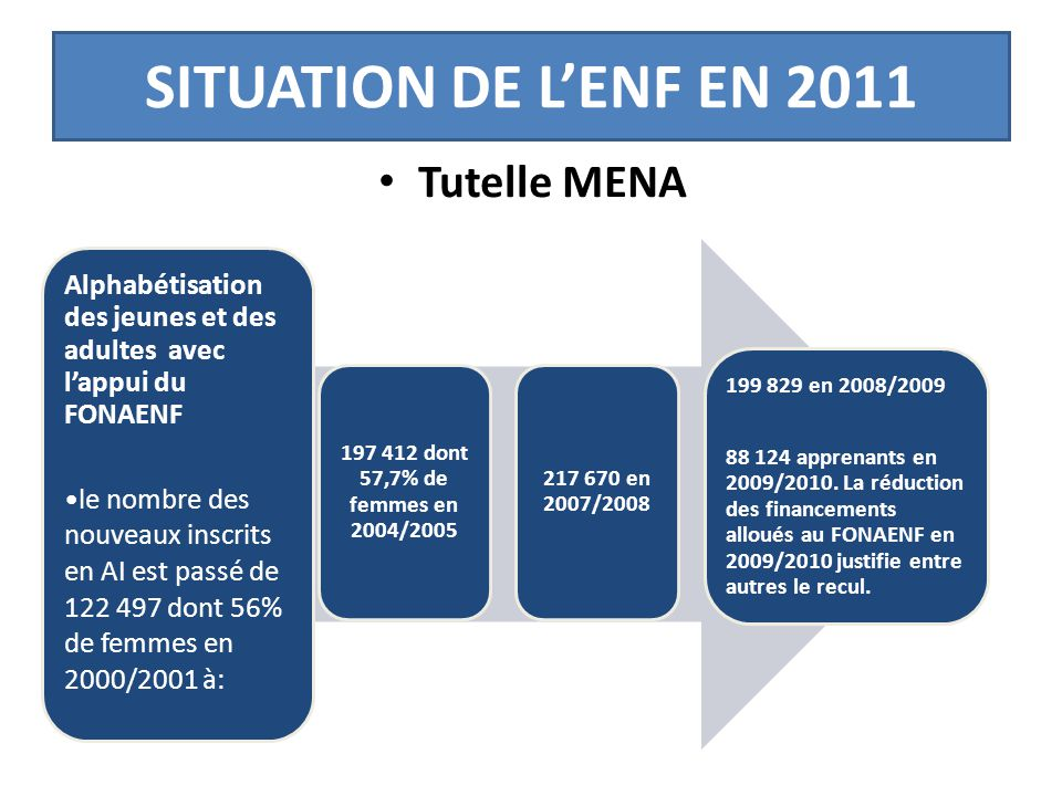 SITUATION DE L'ENF EN 2011 Tutelle MENA