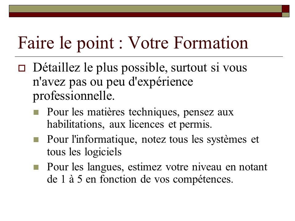 Faire le point : Votre Formation