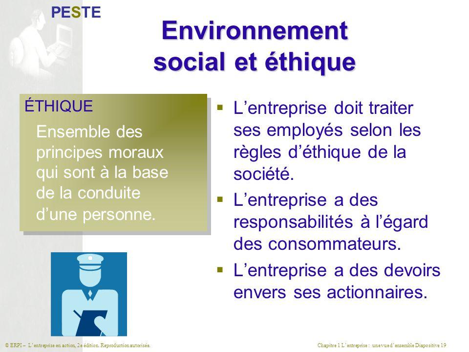 Environnement social et éthique