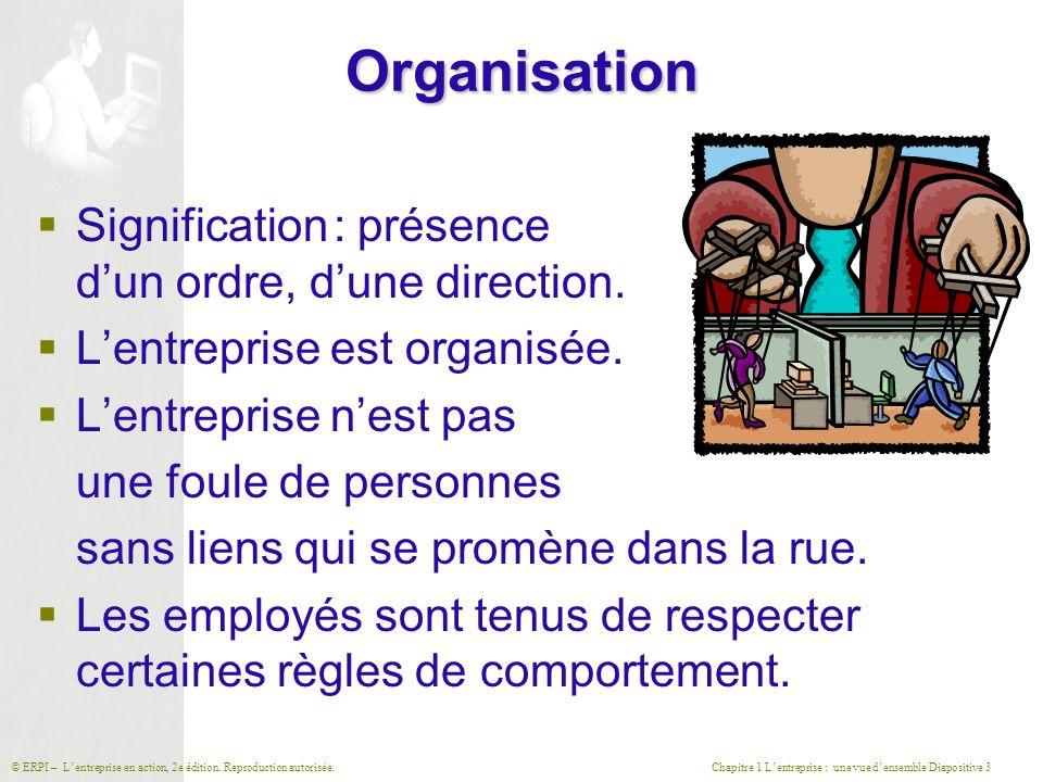 Organisation Signification : présence d'un ordre, d'une direction.